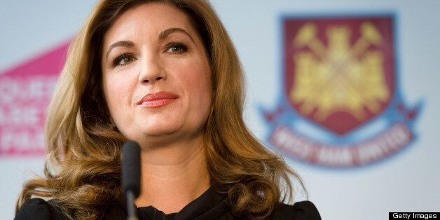 West Ham United Vice Chairman Karren Brady listens to a question during a press conference in east London...