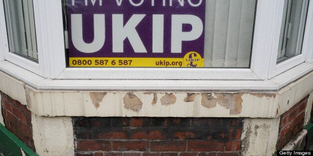 SOUTH SHIELDS, ENGLAND - MAY 02: A UKIP posted is displayed in a house window on the day that voters...