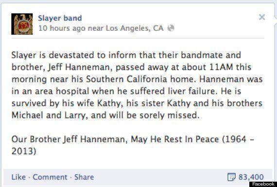 Jeff Hanneman Dead: Slayer Guitarist Dies Aged 49 Of Liver