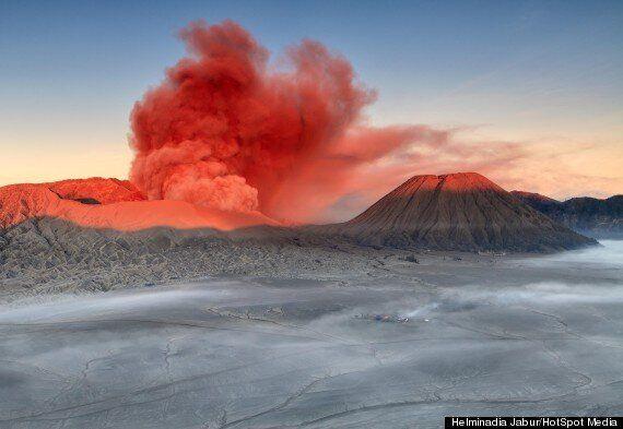 Mount Bromo, Indonesian Volcano Spews Red Smoke