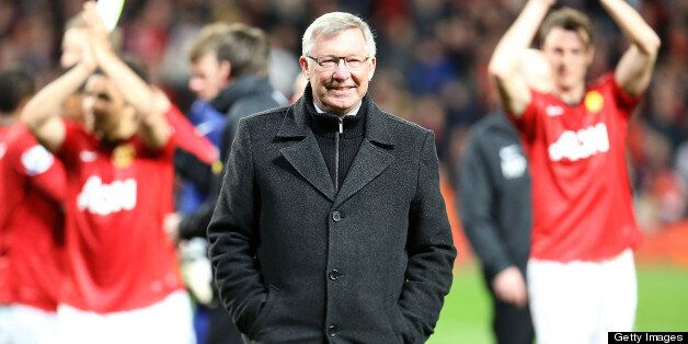 MANCHESTER, ENGLAND - APRIL 22: Manager Sir Alex Ferguson of Manchester United celebrates at final whistle...