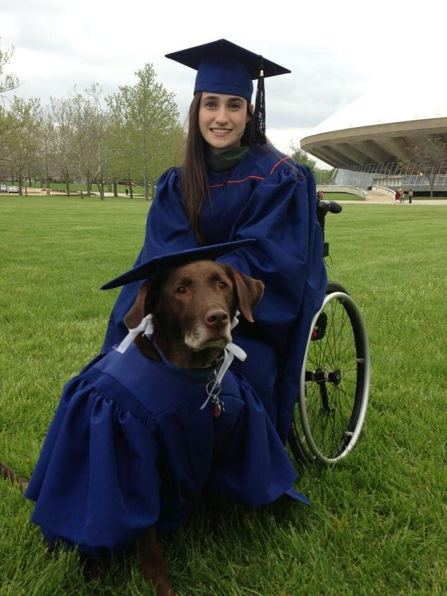 Disabled Student & Service Dog Hero Attend Graduation In Matching Caps & Gowns
