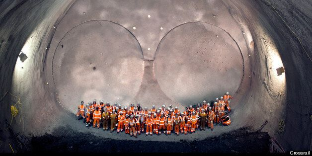 Workers in one of the world's largest man-made caverns at Stepney Green in