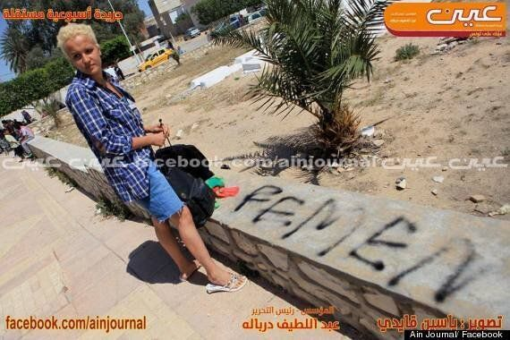 Amina Tyler: Topless Tunisian Protester 'Arrested For Daubing Femen On Cemetery Wall' (PICTURES,