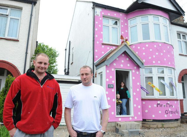 Mr Blobby House Prank Sees Newlyweds' Essex Home Painted Pink With Yellow