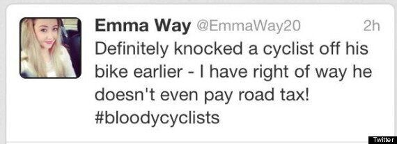 Driver Emma Way Apologises For Tweet Boasting Of Knocking Cyclist Off His