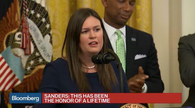 La porte-parole de la Maison blanche Sarah Sanders, ici le 13 juin, quitte ses