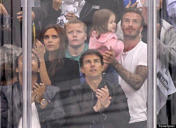 David Beckham Kisses Daughter Harper On 'Kiss Cam' At The Hockey