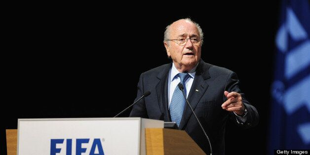 PORT LOUIS, MAURITIUS - MAY 31: FIFA President Joseph S. Blatter takes the floor during the 63rd FIFA...