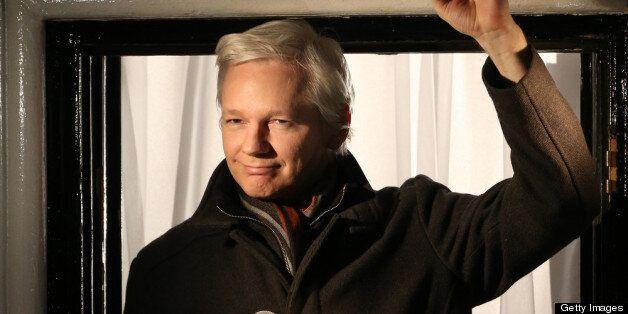 LONDON, ENGLAND - DECEMBER 20: Wikileaks founder Julian Assange speaks from the Ecuadorian Embassy on...
