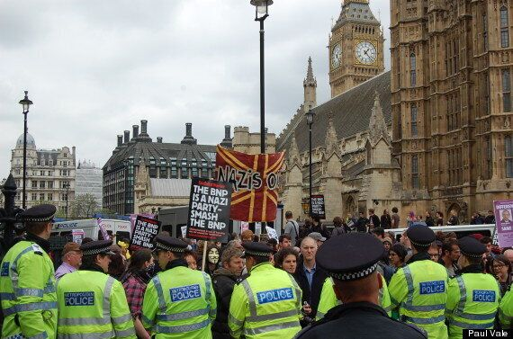 BNP Westminster Protesters Clash With Rival Anti-Fascists