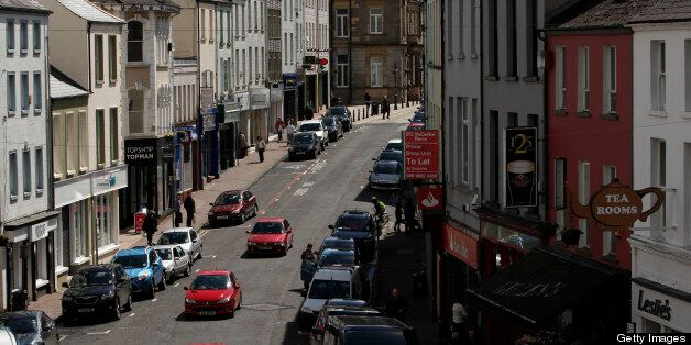 A picture taken on May 1, 2013 shows a general view of the high street in Enniskillen, County Fermanagh,...