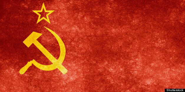 grungy soviet flag on