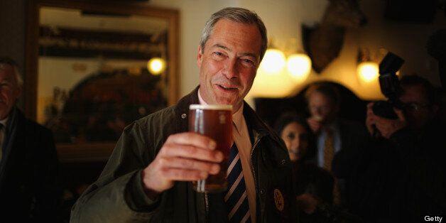 SOUTH SHIELDS, ENGLAND - APRIL 30: UK Independence Party (UKIP) Leader Nigel Farage enjoys a pint of...