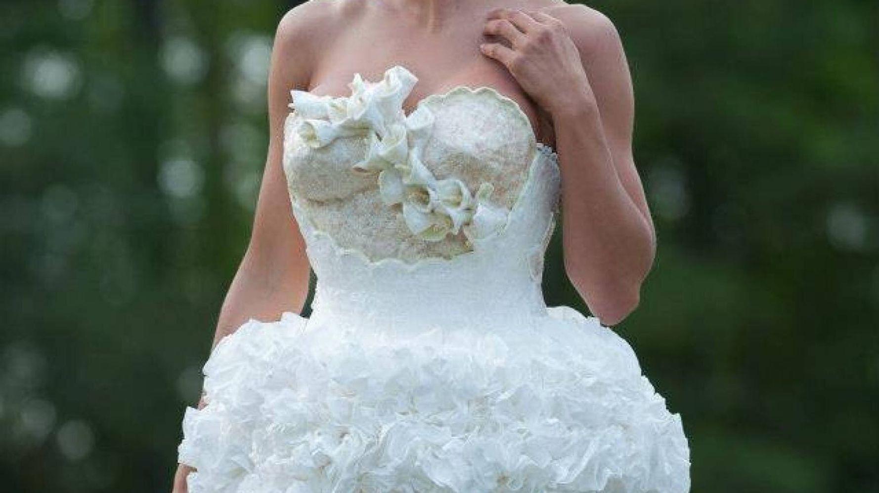 Mimoza Haska Wins Toilet Paper Wedding Dress Contest 2013