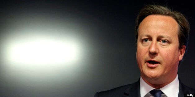 David Cameron, U.K. prime minister, speaks during the G8 social impact investment forum at Bloomberg...