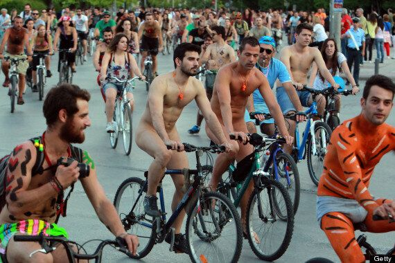 Cyclists Go Bare For World Naked Bike Ride (NSFW