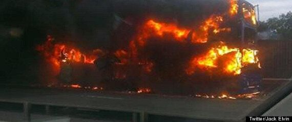 Dramatic Bus Fire Closes The M4 Motorway