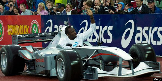 Usain Bolt greets the crowd during the Bislett