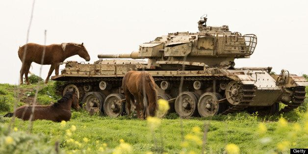 A picture taken on March 8, 2013 shows horses near a former Israeli tank in a field along the border...