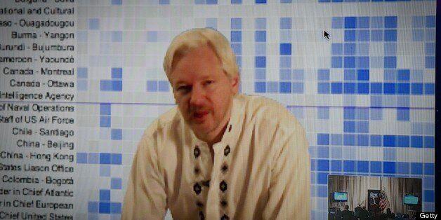 Whistleblowing website WikiLeaks founder Julian Assange speaks during a teleconference between London...