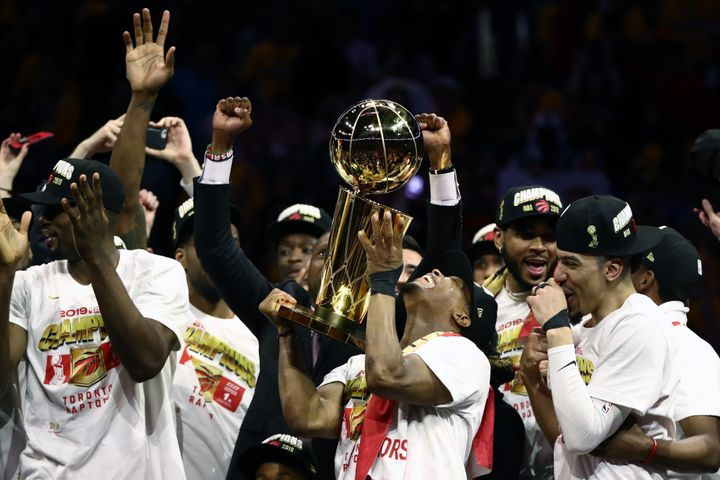 The Toronto Raptors celebrate their first NBA championship at Oracle Arena in Oakland, Calif., on June 13, 2019.