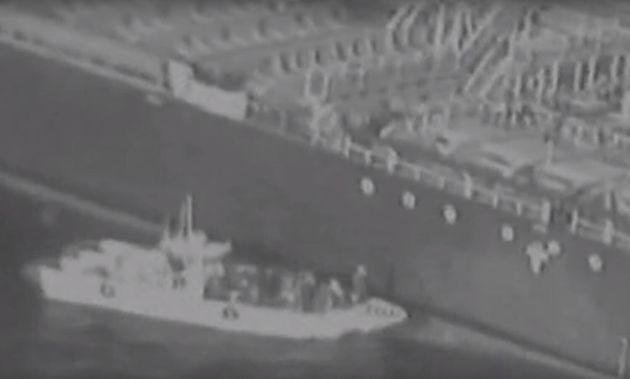 Sur cette image, extraite de la vidéo diffusée par l'armée américaine, on...