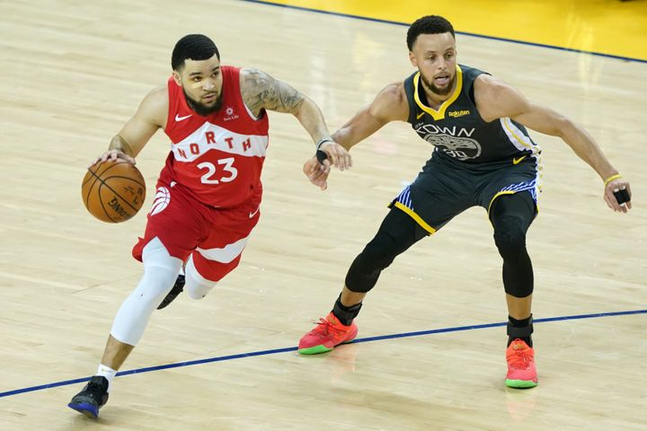 Fred VanVleet of the Toronto Raptors is defended by Stephen Curry of the Golden State Warriors during Game 6 of the 2019 NBA Finals at Oracle Arena on June 13, 2019 in Oakland, Calif.