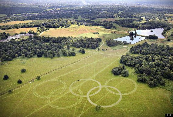 London 2012: Olympic Rings Displayed At Richmond Park