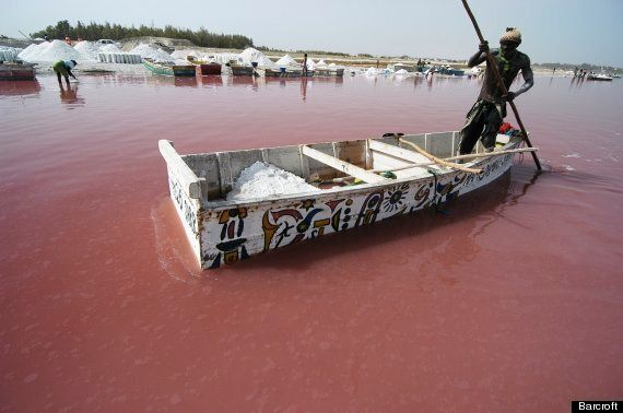 Lake Retba In Senegal Looks Like A Giant Strawberry