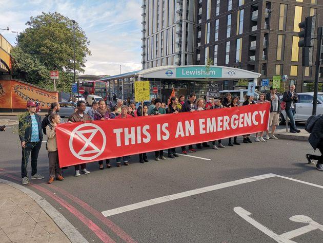 Extinction Rebellion Block Major Roads In South London During Rush