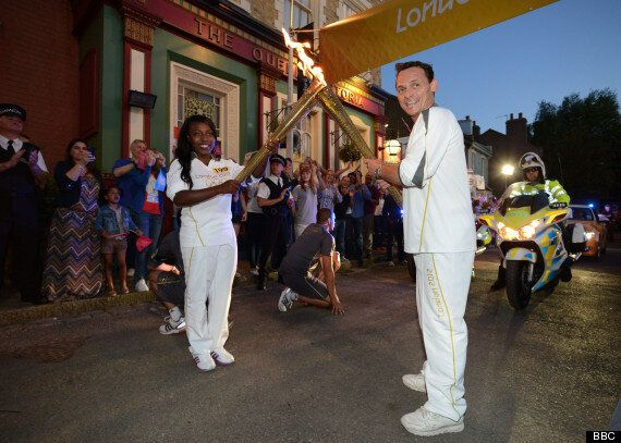 TV REPLAY: EastEnders' Billy Mitchell Carries The Olympic Torch Through Albert