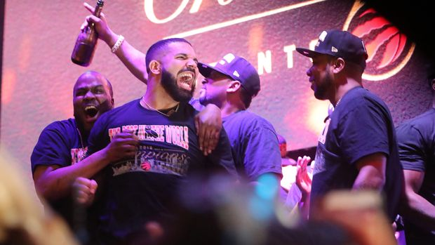 TORONTO, ON- JUNE 13  -   Drake celebrates as Toronto fans gather in Jurassic Park to watch the Raptors play  the Golden State Warriors in game six and win the NBA Finals at Oracle Arena in Oakland ouside  of  Scotiabank Arena  in Toronto. June 13, 2019.        (Steve Russell/Toronto Star via Getty Images)