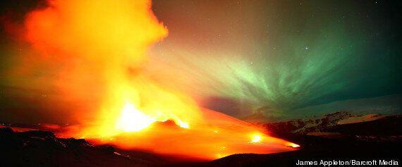 Icelandic Volcano Fimmvörðuháls Erupts Against Aurora Borealis