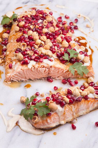 Asian Salmon With Pomegranate And Tahini Dressing