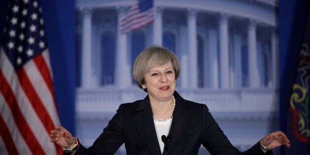British Prime Minister Theresa May arrives to speak at the Republicans Congressional retreat in Philadelphia,...