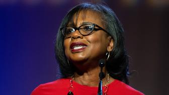 SANTA CLARA, CA - OCTOBER 30: Anita Hill speaks at the YWCA Silicon Valley Inspire Luncheon at the Santa Clara Convention Center in Santa Clara, Calif., on Tuesday, Oct. 30, 2018. (Randy Vazquez/Digital First Media/The Mercury News via Getty Images)