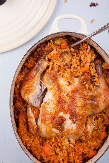 Whole Chicken Baked With Rice
