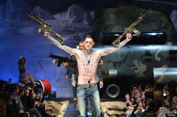 Guns On The Catwalk: Philipp Plein Sends Machine-Gun Toting Models Down The Runway