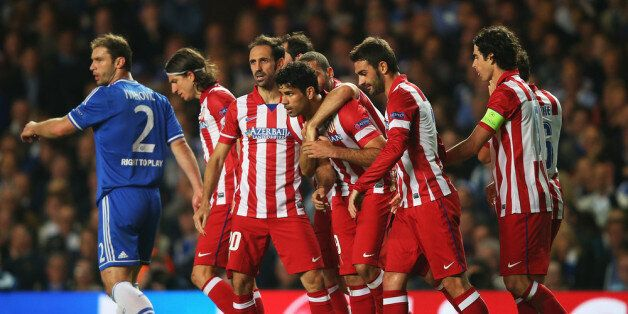 LONDON, ENGLAND - APRIL 30: Diego Costa of Club Atletico de Madrid celebrates his goal with team mates...