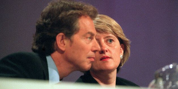 Then Labour Party General Secretary Margaret McDonagh has a quiet word with Tony Blair during the Party's...