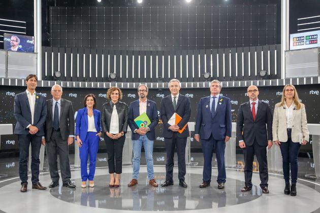 Los nueve cabezas de lista a las elecciones europeas de los partidos con representación en el...