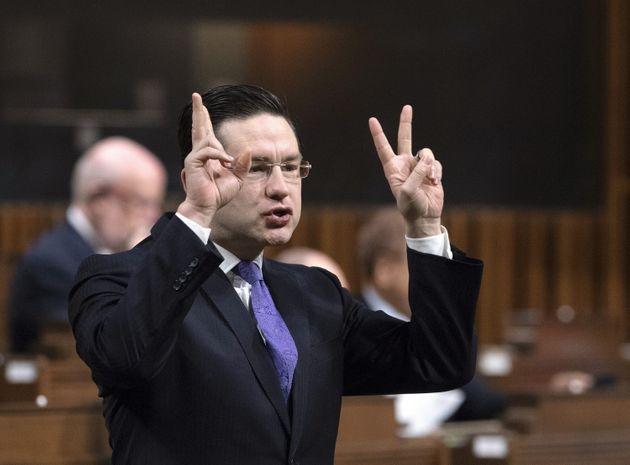 Conservative MP Pierre Poilievre stands in the House of Commons on Feb. 1, 2019 in