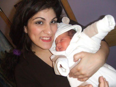 Vicki Psarias after the birth of her first child.