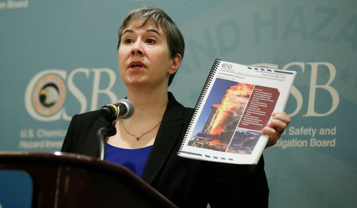 Kristen Kulinowski, the interim director of the U.S. Chemical Safety Board, holds a copy of the agency's report on the Pryor