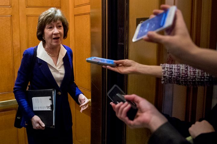 Sen. Susan Collins speaks to reporters following a Senate policy luncheon on Capitol Hill in Washington on April 2.