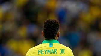 BRASILIA, BRAZIL - JUNE 05: Neymar Jr. of Brazil reacts during the International Friendly Match between Brazil and Qatar at Mane Garrincha Stadium on June 5, 2019 in Brasilia, Brazil. (Photo by Buda Mendes/Getty Images)