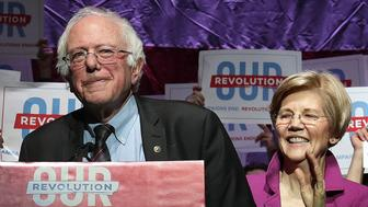 BOSTON, MA - MARCH 31: U.S. Senator Bernie Sanders is introduced by U.S. Senator Elizabeth Warren during a rally at the Orpheum Theatre in Boston on Mar. 31, 2017. (Photo by Barry Chin/The Boston Globe via Getty Images)