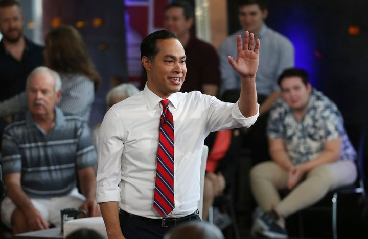 Julián Castro waves to the crowd after a town hall event in June.