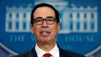 FILE - In this Friday, Aug. 25, 2017, file photo, Treasury Secretary Steven Mnuchin speaks during a news briefing at the White House in Washington. During a CNBC interview, Thursday, Aug. 31, 2017, Mnuchin avoided a direct answer when asked whether he supported the decision made by the Obama administration to replace Andrew Jackson on the $20 bill with Harriet Tubman, the 19th century African-American abolitionist who was a leader in the Underground Railroad. Mnuchin's response raised speculation that Tubman's future on the $20 bill could be in jeopardy. (AP Photo/Carolyn Kaster, File)